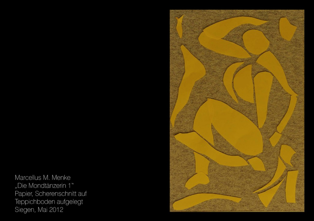 """""""Die Mondtänzerin 1"""", Papier, Scherenschnitt auf Teppichboden aufgelegt. Siegen, Mai 2012"""
