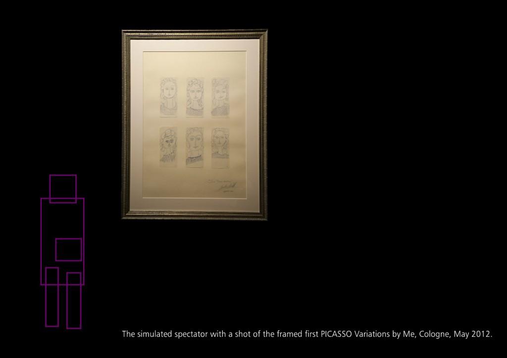 Der simulierte Beobachter mit einem Photo der gerahmten Picassovariationen, Köln Mai 2012 Seite 21 aus: Marcellus M. Menke, MeandMeandMe, Some circumspective Picasso Variations, ScreenBOOK, Cologne Edition 2012