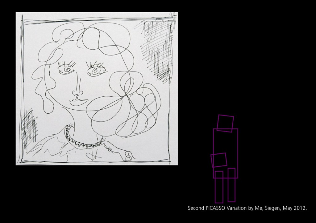 Zweite Picasso Variation, Siegen, Mai 2012 Seite 23 aus: Marcellus M. Menke, MeandMeandMe, Some circumspective Picasso Variations, ScreenBOOK, Cologne Edition 2012