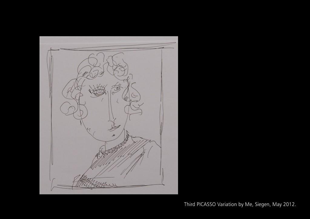 Die dritte Picasso Variation, Siegen Mai 2012 Seite 27 aus: Marcellus M. Menke, MeandMeandMe, Some circumspective Picasso Variations, ScreenBOOK, Cologne Edition 2012