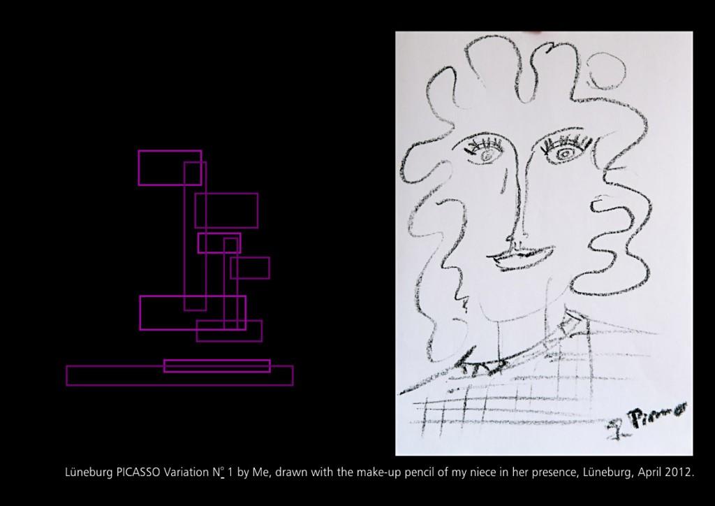 Lüneburger Picasso Variation April 2012 Seite 30 aus: Marcellus M. Menke, MeandMeandMe, Some circumspective Picasso Variations, ScreenBOOK, Cologne Edition 2012