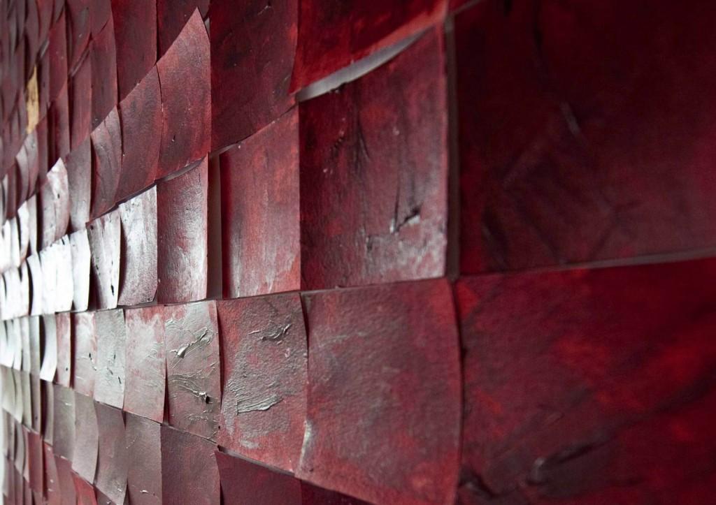 196 Quadrate für Gerhard Richter. Blick von der Seite auf eine Teil der Installation.