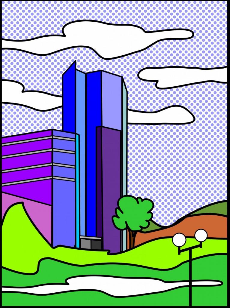 Marcellus M. Menke, Blue Tower I, digitally created image, Siegen 2012. Hommage à: Roy Lichtenstein: Read barn II, 1969. Postkarte, Siegen 2012