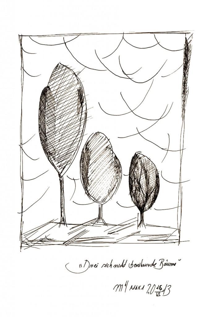 Marcellus M. Menke: Drei sich nicht berührende Bäume. Version 2. Zeichnung auf Papier. 20 mal 30 cm, Köln 15.06.13