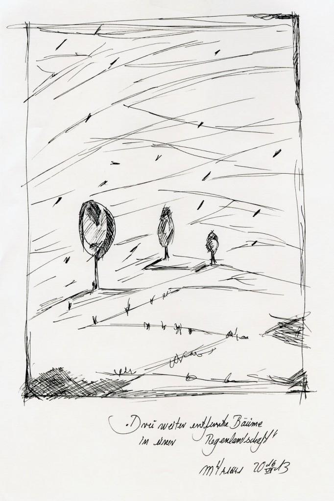 Marcellus M. Menke: Drei weiter entfernte Bäume in einer Regenlandschaft. Version 2. Zeichnung auf Papier. 20 mal 30 cm, Köln 15.06.13