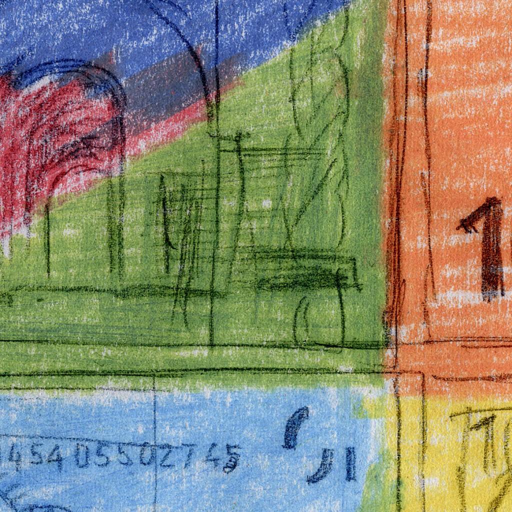 Ausschnitt Nr. 2 aus: Marcellus M. Menke: 72 Zehn-Euro-Scheine, nicht immer vollständig wiedergegeben, gescannte Zeichnung und digitale Montage, Köln 2012. Hommage à: Andy Warhol, 80 Zweidollarscheine (Vorder- und Rückseite), 1962