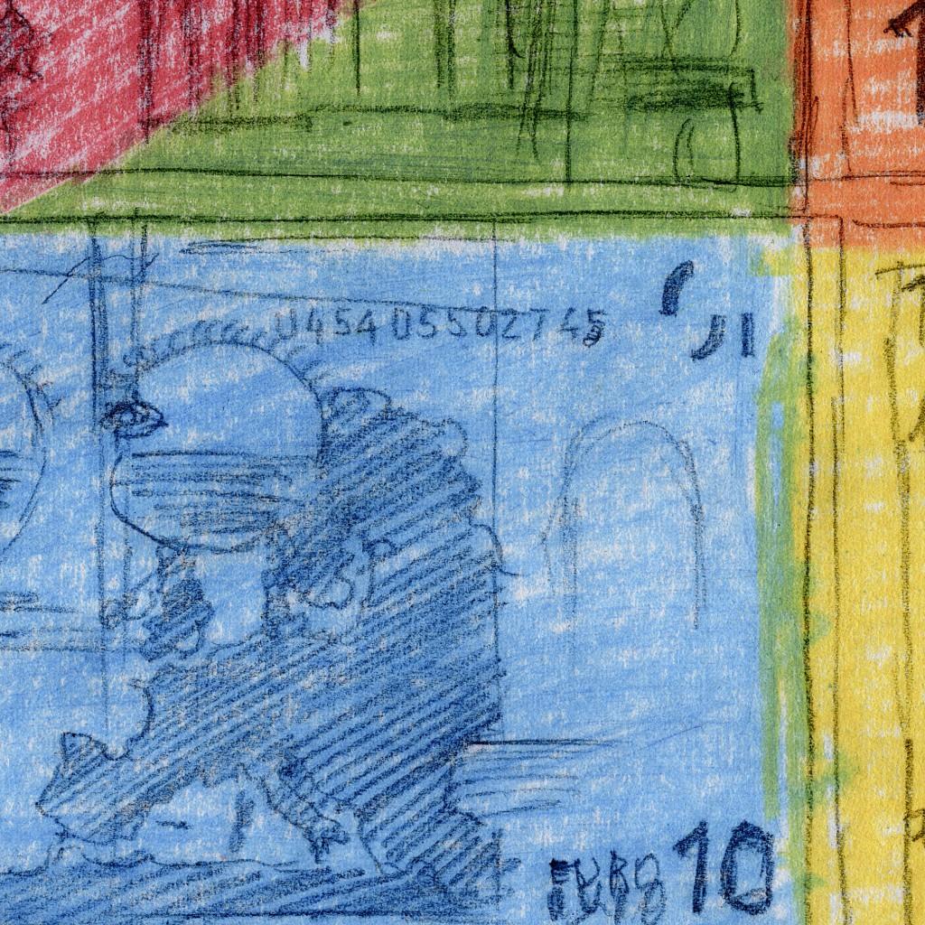 Ausschnitt Nr. 3 aus: Marcellus M. Menke: 72 Zehn-Euro-Scheine, nicht immer vollständig wiedergegeben, gescannte Zeichnung und digitale Montage, Köln 2012. Hommage à: Andy Warhol, 80 Zweidollarscheine (Vorder- und Rückseite), 1962