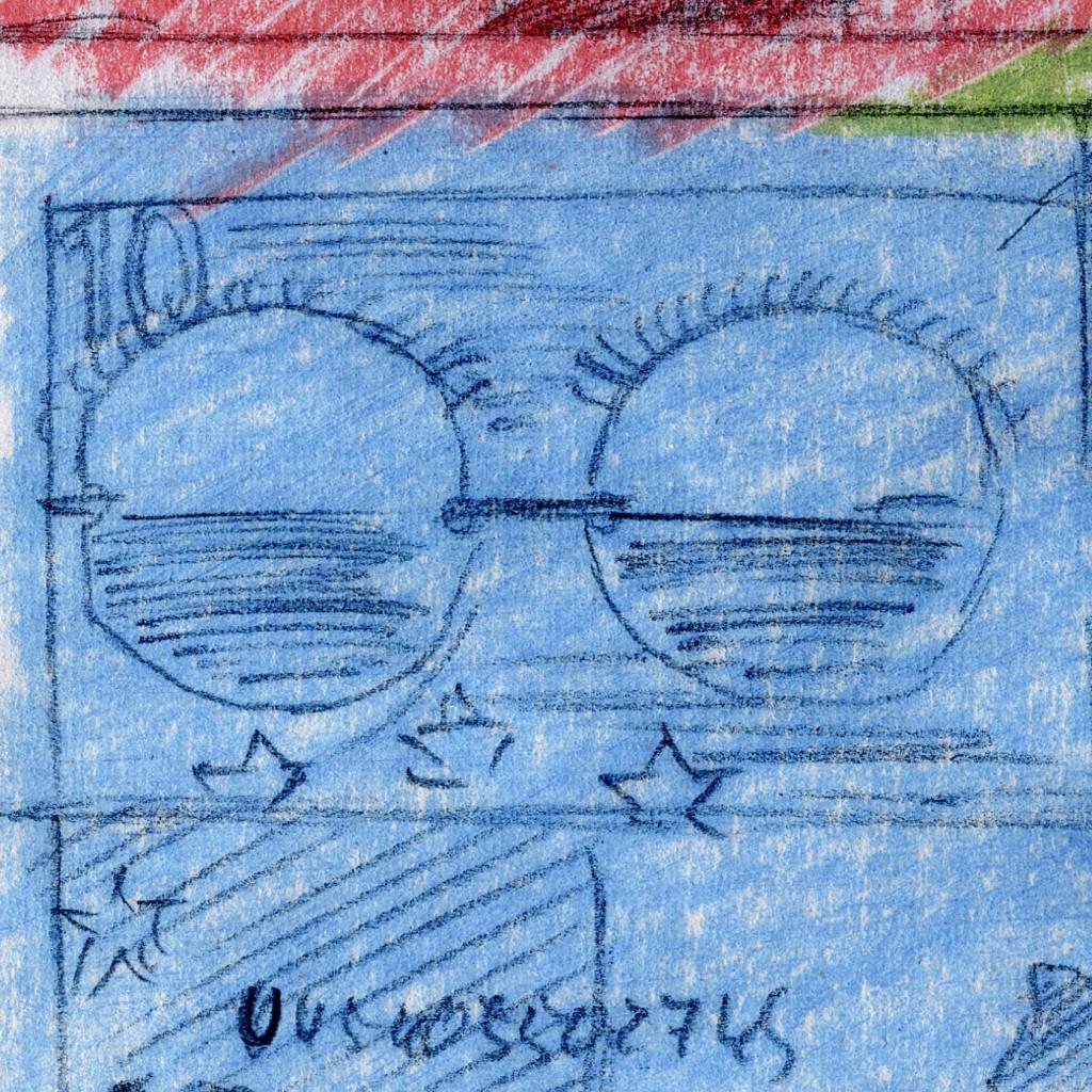 Ausschnitt Nr. 5 aus: Marcellus M. Menke: 72 Zehn-Euro-Scheine, nicht immer vollständig wiedergegeben, gescannte Zeichnung und digitale Montage, Köln 2012. Hommage à: Andy Warhol, 80 Zweidollarscheine (Vorder- und Rückseite), 1962