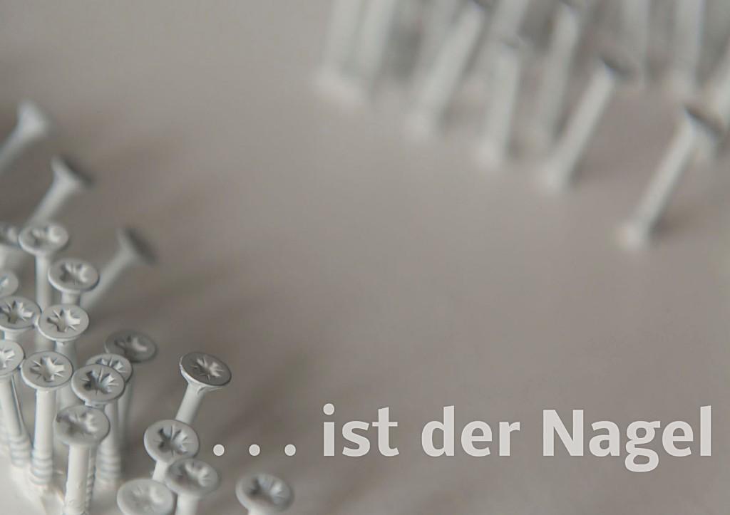 """Marcellus M. Menke. Die Antwort des Akkuschraubers auf Günther Uecker: """"Nagel"""". Seite 3 des ScreenBOOKs """"Zwölf Seiten für die neue Interpretation eines alten Themas."""" Köln 2013"""