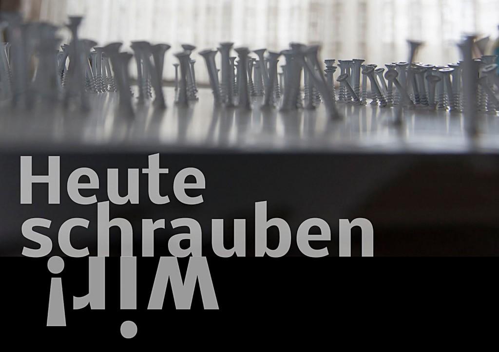 """Marcellus M. Menke. Die Antwort des Akkuschraubers auf Günther Uecker: """"Heute"""". Seite 5 des ScreenBOOKs """"Zwölf Seiten für die neue Interpretation eines alten Themas."""" Köln 2013"""