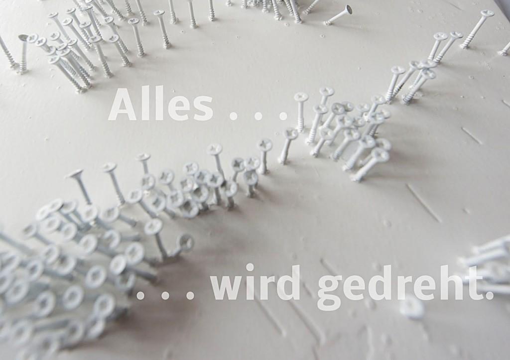 """Marcellus M. Menke. Die Antwort des Akkuschraubers auf Günther Uecker: """"Alles"""". Seite 7 des ScreenBOOKs """"Zwölf Seiten für die neue Interpretation eines alten Themas."""" Köln 2013"""