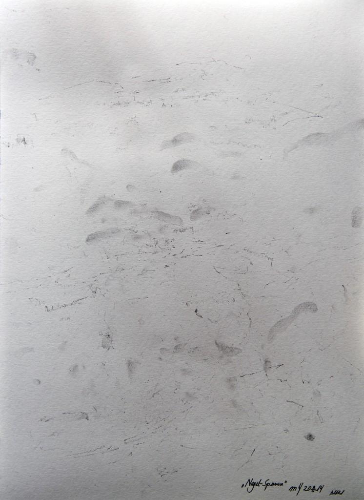 Marcellus M. Menke: Nagelspuren. 09.02.14. Mehrere Kilo Nägel auf einen Bogen aufgelegt und wieder abgenommen, Köln 2014