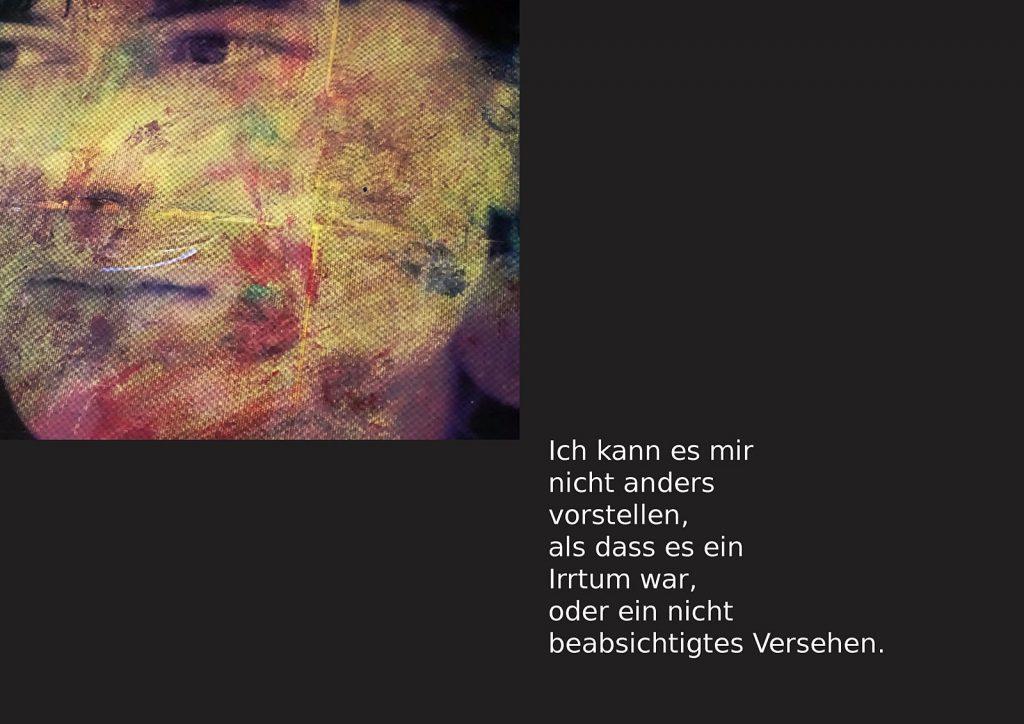 Marcellus M. Menke: Betrayed Generation. Rasterfolie und Acryl auf Leinwand, Photographie mit gesetztem Text. m4art screenBook, Köln und Siegen 2016, Seite 2