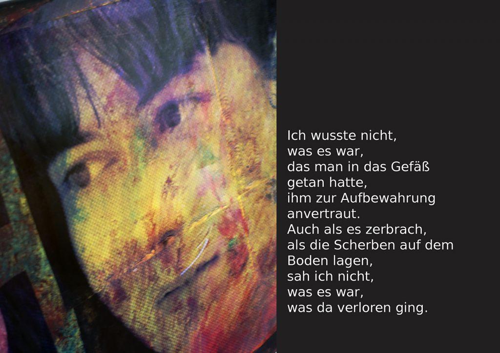 Marcellus M. Menke: Betrayed Generation. Rasterfolie und Acryl auf Leinwand, Photographie mit gesetztem Text. m4art screenBook, Köln und Siegen 2016, Seite 4