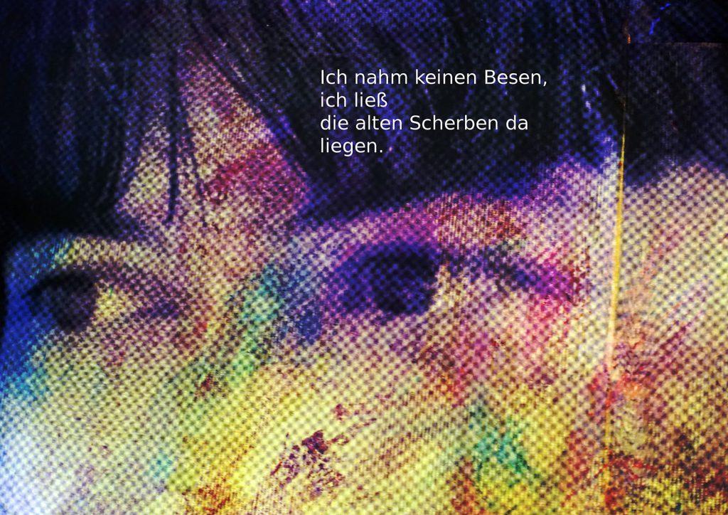 Marcellus M. Menke: Betrayed Generation. Rasterfolie und Acryl auf Leinwand, Photographie mit gesetztem Text. m4art screenBook, Köln und Siegen 2016, Seite 6