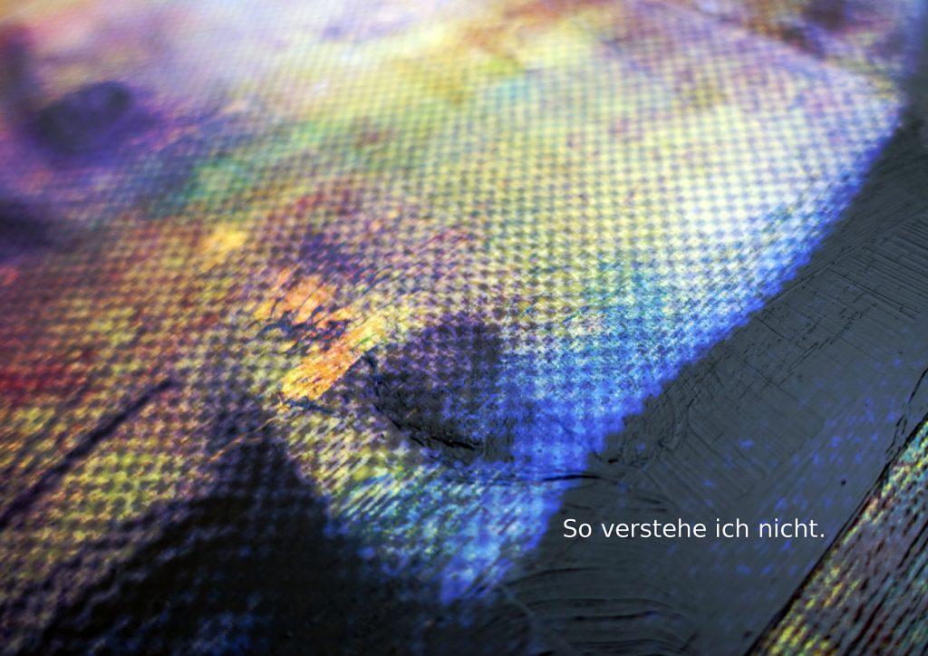 Marcellus M. Menke: Betrayed Generation. Rasterfolie und Acryl auf Leinwand, Photographie mit gesetztem Text. m4art screenBook, Köln und Siegen 2016, Seite 10